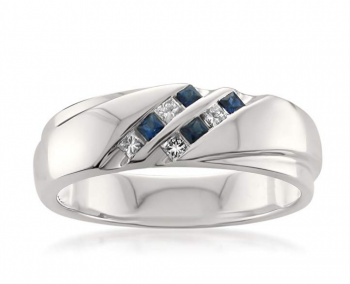 La4ve Diamonds 14k White Gold Princess-Cut Diamond & Blue Sapphire Men's Wedding Band Ring