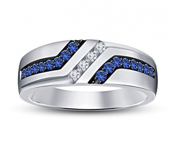 TVS-JEWELS Men's Wedding Anniversary Band Ring In White Platinum Plated 925 Sterling Silver WithRound Blue Sapphire & White CZ