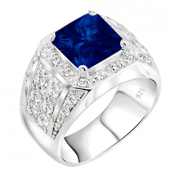 Men's Sterling Silver .925 Ring Synthetic Blue Sapphire Stone High Polish Princess Cut 32 Round Prong-Set Cubic Zirconia Clear