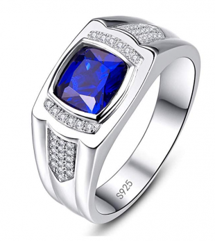 BONLAVIE Mens Engagement Ring 925 Sterling Silver Vintage Princess Cut Created Sapphire CZ Size 8-13 4.0 out of 5 stars 7 customer reviews