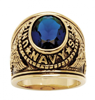 Palm Beach Jewelry Men's 14K Yellow Gold-Plated Antiqued Oval Cut Simulated Blue Sapphire United States Navy Ring