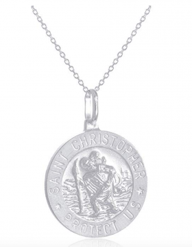 "JOTW 925 Sterling Silver Saint Christopher ""Protect Us"" Round Pendant with an 18 Inch Link Necklace -"