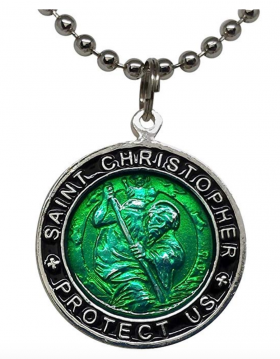 Wet Products St. Christopher Surf Necklace, Large Pendant, Green with Black Rim, 23 Inch Ball Chain