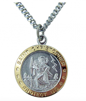 Catholic Patron Saint Pendants Gold and Sterling Silver Two-Toned, 7/8 Inch