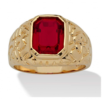 Palm Beach Jewelry Men's 14K Yellow Gold-Plated Emerald Cut Simulated Red Ruby Nugget-Style Ring 4.2 out of 5 stars 8 customer reviews Price: $19.82 Ring Size: 9 1 Ruby Stone Item Measures 9.5 mm Wide x 5.5 mm High x 13 mm Long. 4.5 mm Shank Width Style: Classic. Imported New (1) from $19.82 See product specifications Customers who viewed this item also bought PMTIER $8.00 - $11.00 MASOP $9.72 - $11.27 Star Jewelry $13.99 wayne store $8.99 - $9.99 Share $19.82