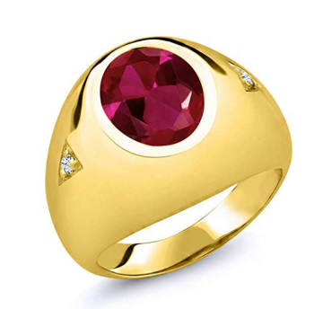 Gem Stone King 5.06 Ct Oval Red Created Ruby 18K Yellow Gold Plated Silver Men's Ring
