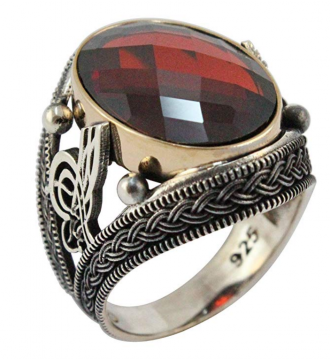 Very Special Ottoman Tugra Turkish Handmade Solid 925 Sterling Silver CZ Ruby Men's Luxury Ring Gift for Him