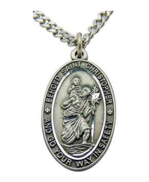 WJH Saint Christopher Pewter Travel Pendant on 24 Inch Stainless Steel Chain Gift