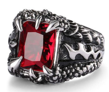 UOKOHO Men's Stainless Steel Ring Band Gothic Dragon Claw Design