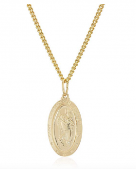 Men's 14k Gold Filled Oval Saint Christopher Medal with Gold Plated Stainless Steel Chain Pendant Necklace, 24""