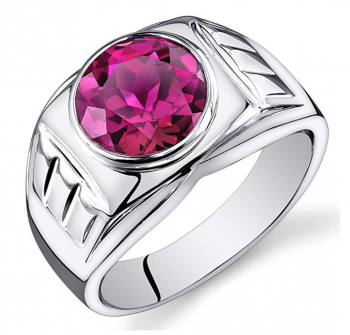 Mens 5.50 Carats Created Ruby Ring Sterling Silver