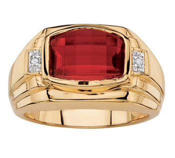 Palm Beach Jewelry Men's Cushion-Cut Lab Created Red Ruby and Diamond Accent