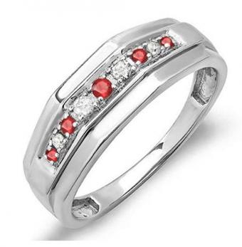 Dazzlingrock Collection Round Ruby & White Diamond Men's Wedding Anniversary Band