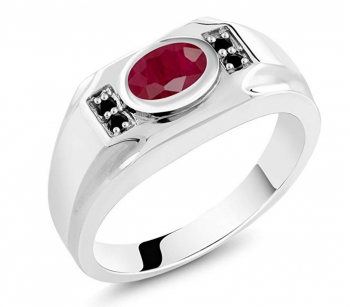 Gem Stone King 2.02 Ct Oval Red Ruby & Black Diamond 925 Sterling Silver Men's Ring