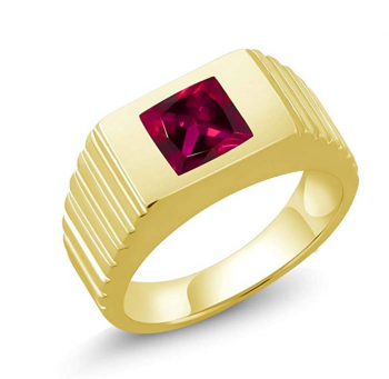 Gem Stone King 1.71 Ct Princess Red Created Ruby 925 Yellow Gold Plated Silver Men's Ring