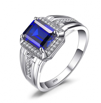 JewelryPalace Men's Created Alexandrite Sapphire Created Ruby Nano Simulated Emerald Smoky Quartz 925 Sterling Silver Ring