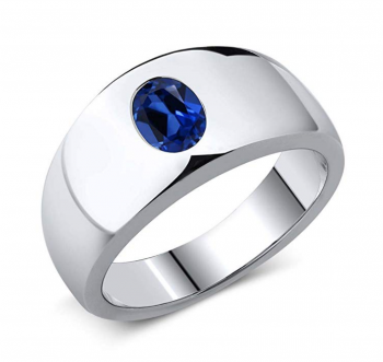Gem Stone King 1.64 Ct Oval Blue Simulated Sapphire 925 Sterling Silver Men's Ring