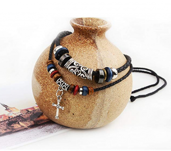 MORE FUN Vintage Style Double Layers Black Braided Leather Tribal Necklace with Charm Cross Pendant