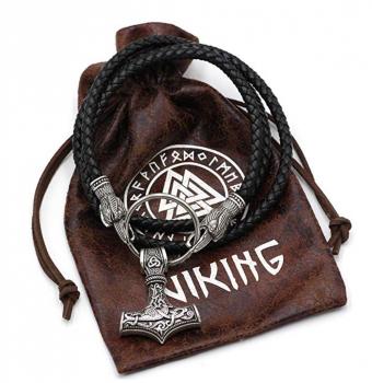 TTKP Viking Leather Cord Ravens of Odin Thor's Hammer Mjolnir Scandinavian Necklace Raven Head Huginn and Muninn