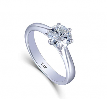 DovEggs Solid 14K White Gold 1ct 6.5mm GH Color Heart Arrows Cut Created Moissanite Solitare Engagement Rings 2.7mm Band Width