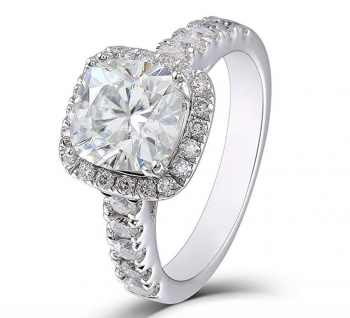 2ct Center 7.5mm Cushion Cut 2.3mm Width H-I Color Created Moissanite Engagement Ring Solitare with Accents Platinum Plated Silver