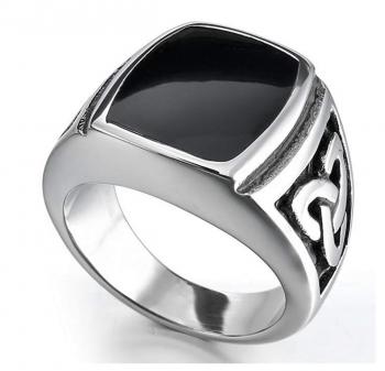 INBLUE Men's Stainless Steel Enamel Ring Silver Tone Black Celtic Knot Signet Triquetra