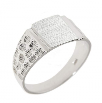Men's 925 Sterling Silver Engravable Square Top Nugget Band Signet Ring