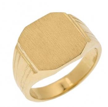 Men's 14k Yellow Gold Custom Engravable Octagon Top Signet Ring