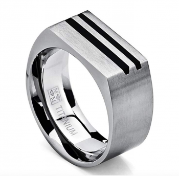 Men's Bold Titanium Pinky Ring Bands with Resin Inlay, Brushed Finish Comfort Fit 10mm Wide