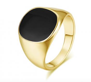 Yoursfs Onyx Ring Men Signet Ring Black Square Enamel Trendy Jewelry