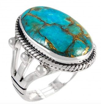 Turquoise Ring in Sterling Silver 925 & Genuine Turquoise Size 6 to 12 (CHOOSE STYLE)