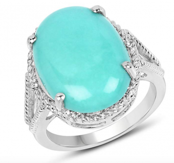 8.58 Carat Genuine Turquoise and White Topaz Solid .925 Sterling Silver Ring