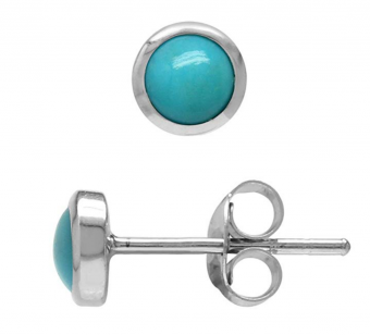 4MM Petite Genuine Arizona Turquoise White Gold Plated 925 Sterling Silver Stud Earrings
