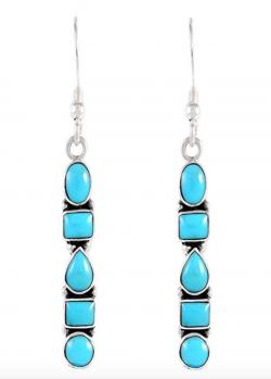 925 Sterling Silver Earrings in Genuine Turquoise & Gemstones