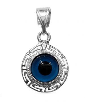 Evil Eye Jewelry - Sterling Silver Greek Key Double Sided Evil Eye Pendant Charm