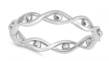 Evil Eye Jewelry - Eternity Infinity Bead Evil Eye Stackable Ring Sterling Silver Band Sizes 2-10