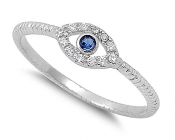 Evil Eye Jewelry - CHOOSE YOUR COLOR Sterling Silver Evil Eye Ring