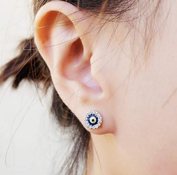Evil Eye Jewelry - 925 Sterling Silver Cubic Zirconia Mini Evil Eye Jewish Post Stud Earrings