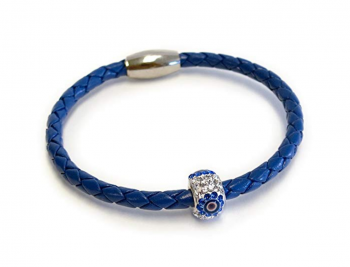 Evil Eye Jewelry - Liza Schwartz Jewelry Lucky Evil Eye Good Luck and Protection Premium Leather Bracelet for Women in Black, Red, Silver and More Colors - Best Gift for Friends and Family