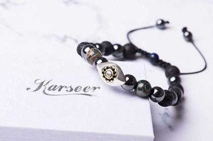 Evil Eye Jewelry - Karseer Hamsa Evil Eye Bracelet, Natural Hematite and Lava Rock Aromatherapy Essential Oil Diffuser Bracelet, Anti Anxiety Stress Relief Jewelry Gift, Unisex