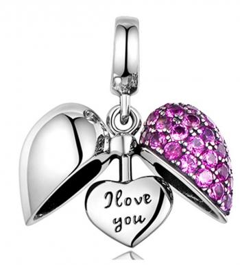 925 Sterling Silver Charm - Love Heart Crystal Bead for Pandora Bracelet