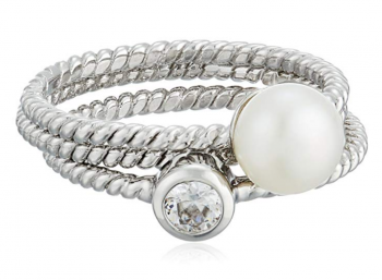 Bella Pearl 3 Sterling Silver Freshwater Stackable Ring