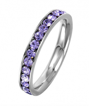 SURANO DESIGN JEWELRY 3mm Stackable Stainless Steel Eternity Band Ring w/Crystal Birthstones