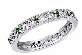 Jewel Zone US Mothers Day Jewelry Gifts Round Cut Simulated Green Emerald Stackable Ring in 14K Gold Over Sterling Silver