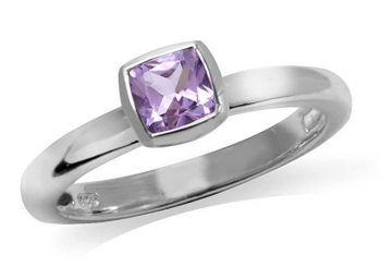 Natural Cushion Cut Amethyst 925 Sterling Silver Stack/Stackable Solitaire Ring