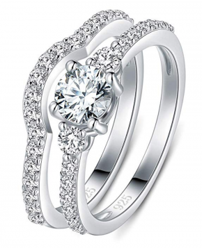 BORUO 925 Sterling Silver Ring, Cubic Zirconia CZ 2pc Wedding Band Stackable Ring Set 4mm Size 4-12