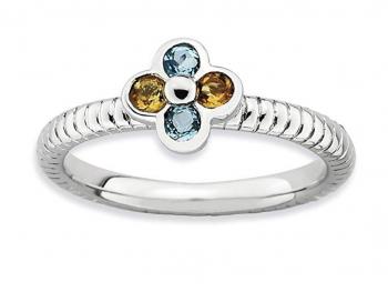 925 Sterling Silver Blue Topaz Yellow Citrine Flower Band Ring Stone Stackable Birthstone Gemstone November December Multiple Fine Jewelry For Women Gift Set