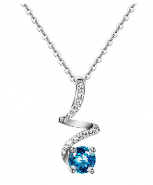 27f72d4e2 Carleen Sterling Silver Blue Topaz/Cubic Zirconia Pendant Necklaces for  Women, Pendant for Daily