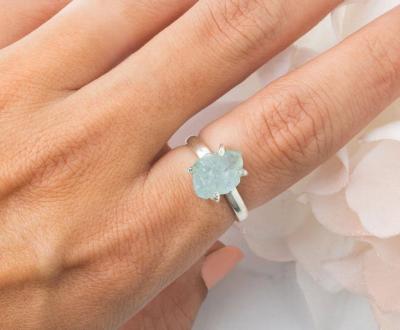 Raw Crystal Ring - Aquamarine