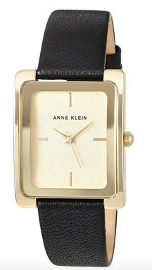 Anne Klein Goldtone and Black Leather Strap Watch